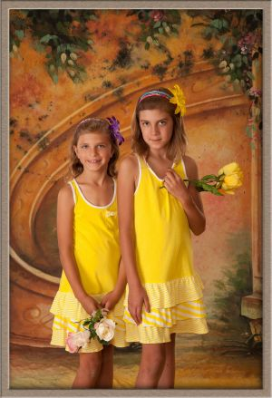 Portland Sisters Portrait with Flowers Taken at Ollar Photography Family Portrait Studio in Lake Oswego, Oregon