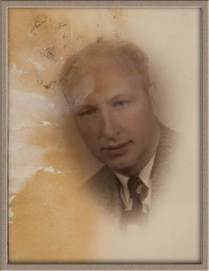 Before Extensive Digital Photo Restoration of Hand-Colored Male Studio Portrait