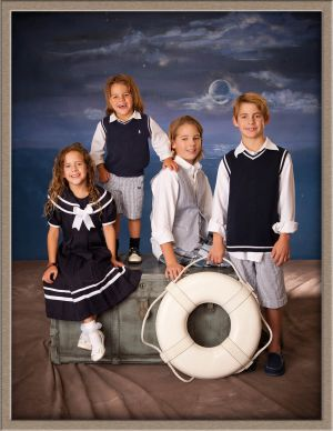 Children's Portrait of Siblings with a Classic Nautical Theme