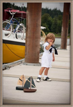 "Portrait photography of ""Sailor Boy"" on Willamette River near Lake Oswego, Oregon"