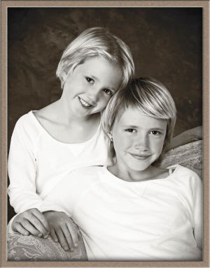 Black-and-White Portrait of Lake Oswego Sisters at Ollar Photography Family Portrait Studio