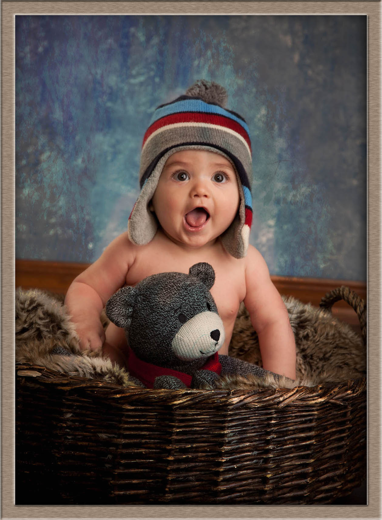 Oregon couture baby in a basket studio photography in lake oswego
