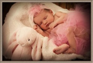 Newborn Baby in Tutu at Photographic Portrait Studio in Lake Oswego, Oregon