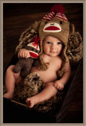 Sock Monkey and Baby Photography in Lake Oswego, Oregon