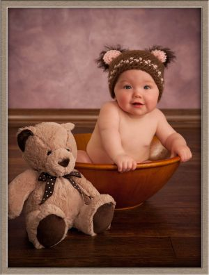 Baby with Teddy Bears at Photographic Portrait Studio Near Portland, Oregon