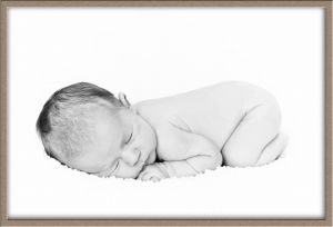 High-Key Black-and-White Baby Portrait