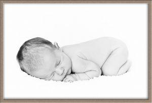 High-Key Black-and-White Baby Portrait