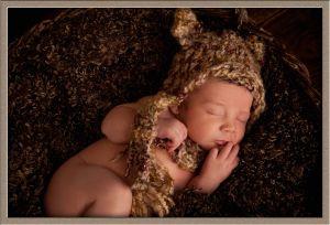 Newborn in a Bear Hat Portrait
