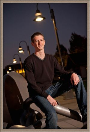 Lake Oswego High School Senior Portrait at Night