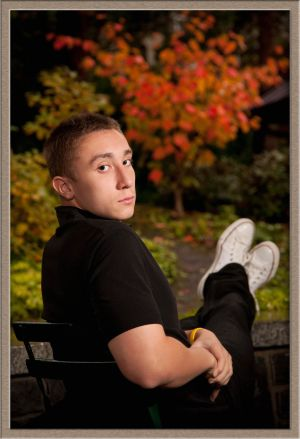 Lakeridge High School Senior Portrait in Autumn Foliage Near Lake Oswego